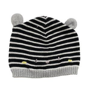 Souris Mini Grey&Black Stripe Knit Infant Cap